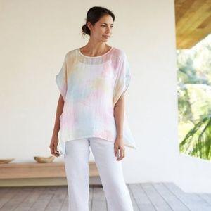 J. Jill Pure Artisanal Linen Tie Dye Top Poncho